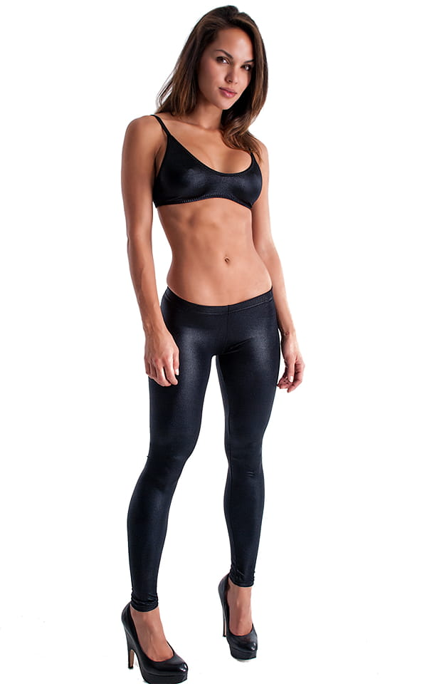 Womens Low Rise Leggings - Fashion Tights in Wet Look Black Tricot/nylon/lycra 1