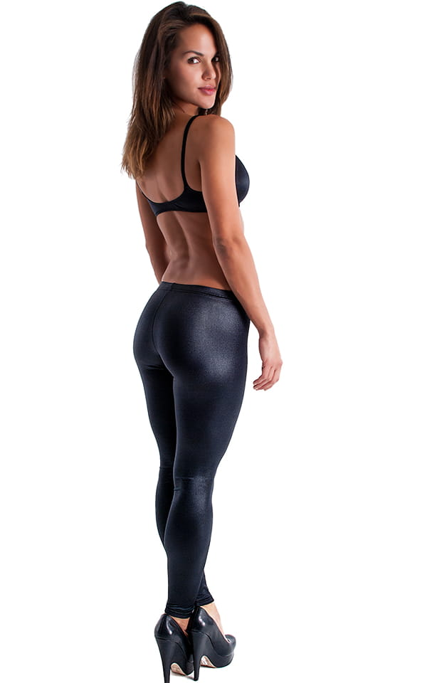 Womens Low Rise Leggings - Fashion Tights in Wet Look Black Tricot/nylon/lycra 3