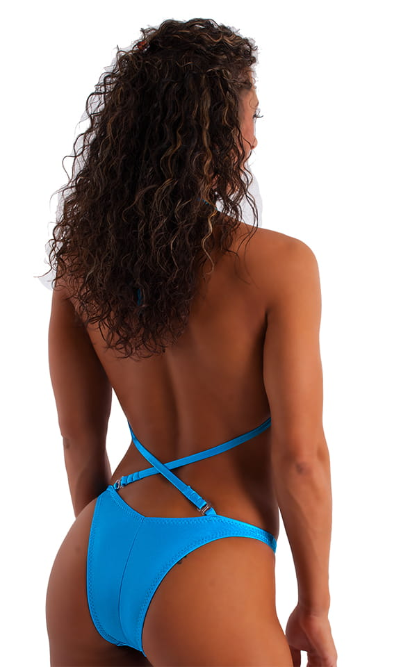 Womens NPC-IFBB Figure Suit in Wet Look Turquoise 3