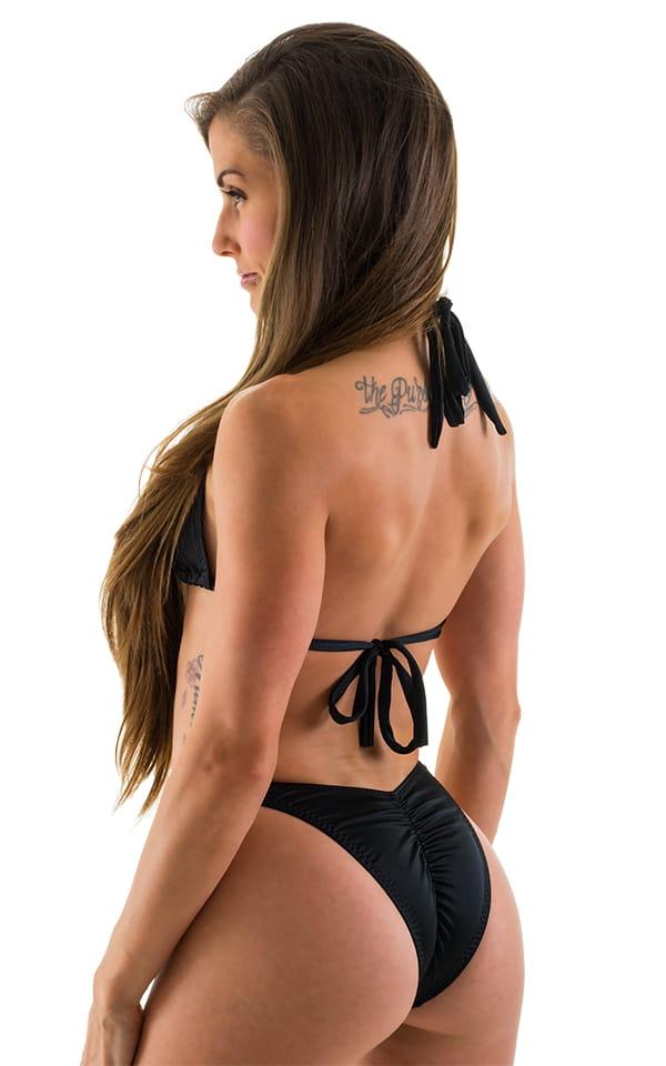High Cut Brazilian Scrunchie Posing Suit Bottom in Black 5