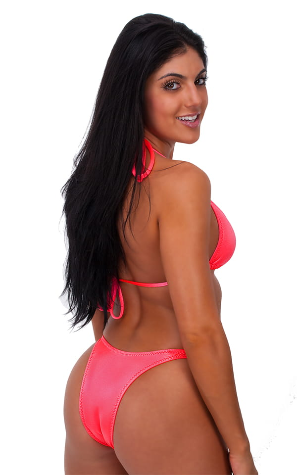 Womens Posing Suit Narrow Back in Brilliant Coral 3