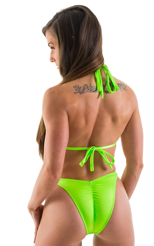High Cut Scrunch Brazilian Bikini Bottom in Neon Lime Swimsuit Bottom 3