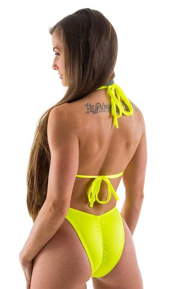 High Cut Scrunch Brazilian Bikini Bottom in Chartreuse Swimsuit Bottom 3
