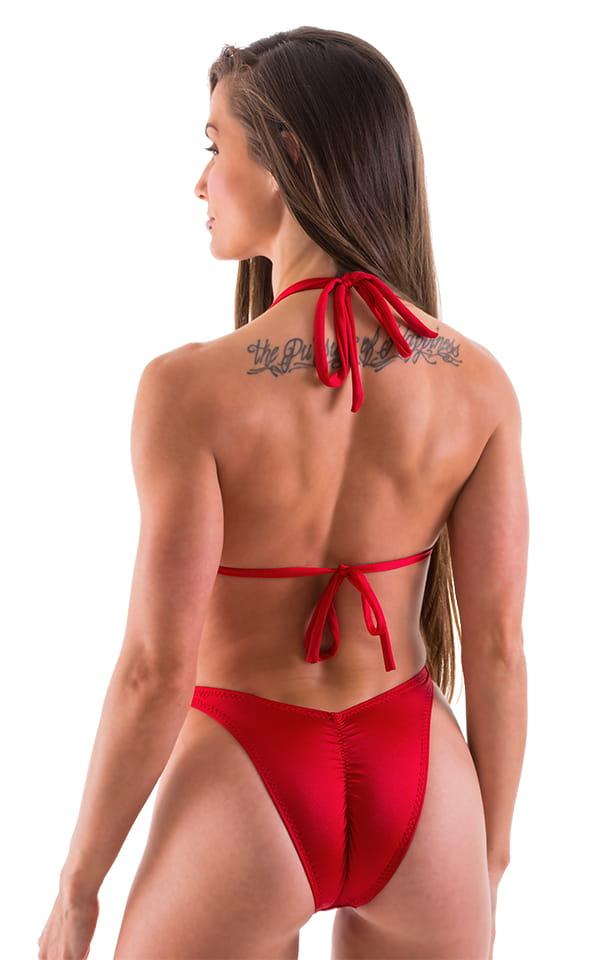 High Cut Scrunch Brazilian Bikini Bottom in Lipstick Red Swimsuit Bottom 3