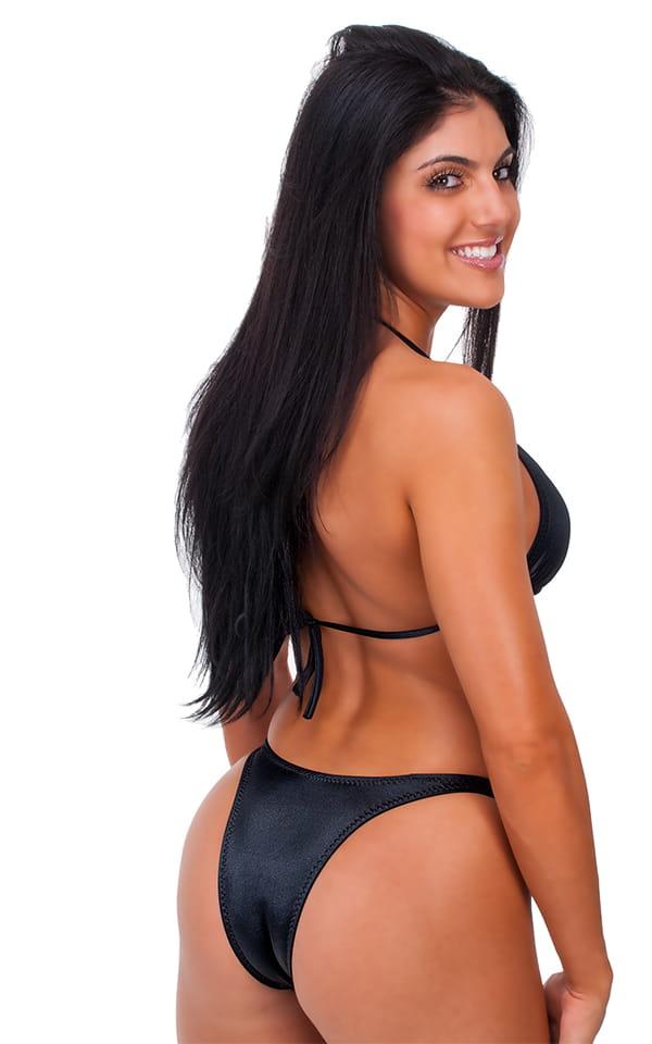 Womens Posing Suit Narrow Back in Wet Look Black 3