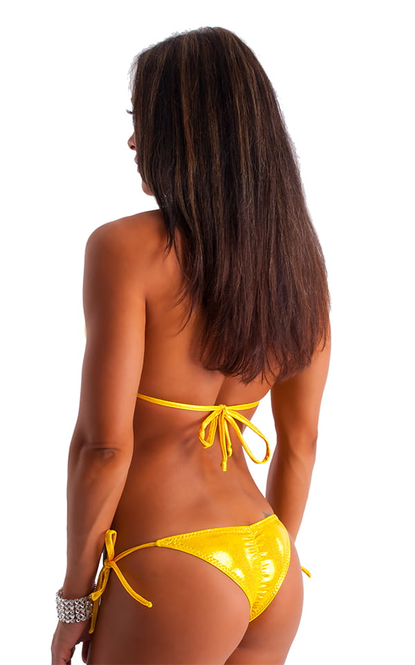 Brazilian Contest Top in Metallic Mystique Gold on Chartreuse 3