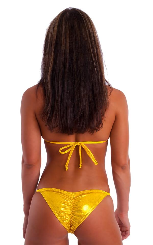 Brazilian Pucker Butt Bikini in Metallic Mystique Gold-Chartreuse 3