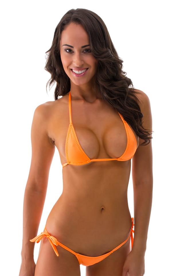 Womens Scrunchie Butt Side Tie Bikini in Neon Orange 1