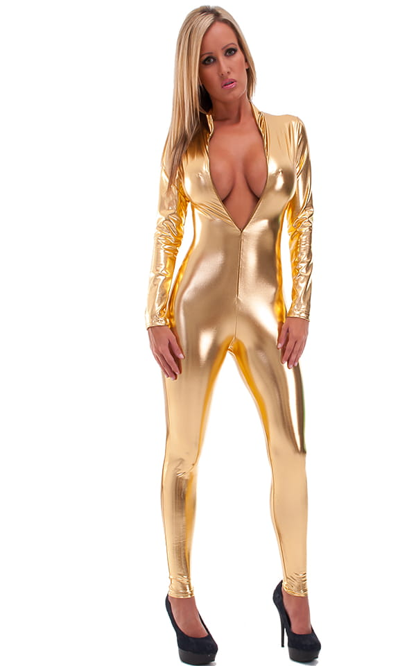 Front Zipper Catsuit-Bodysuit in Liquid Gold 1