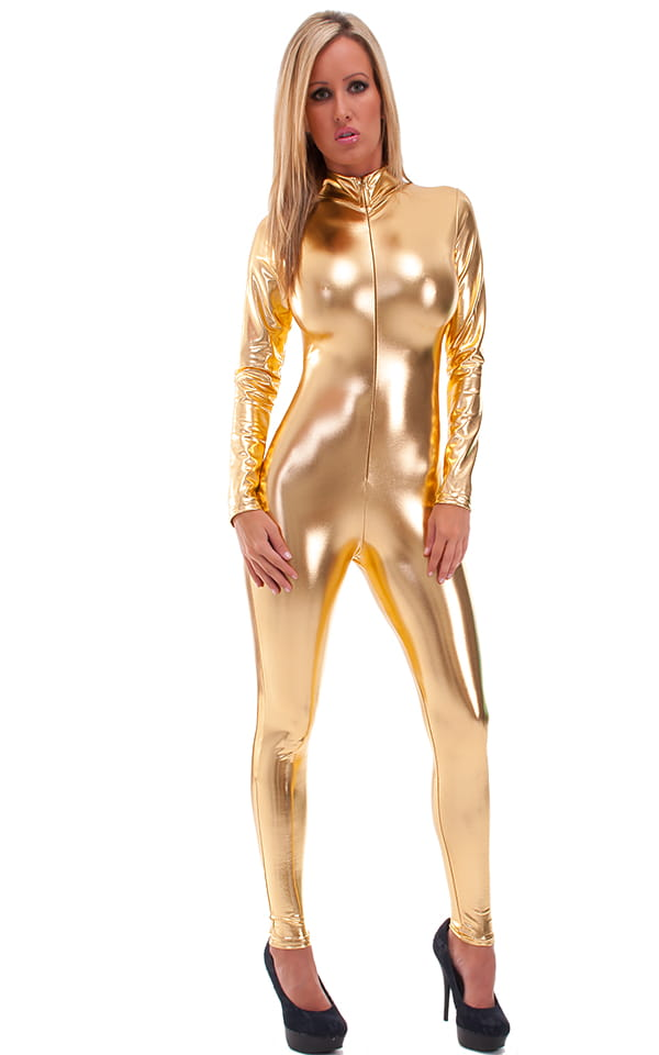 Front Zipper Catsuit-Bodysuit in Liquid Gold 3
