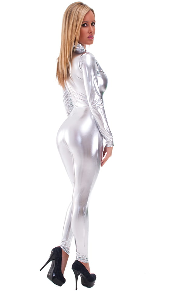 Front Zipper Catsuit-Bodysuit in Liquid Silver 4