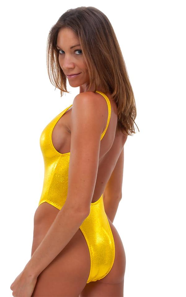 0bc47bc4a5a3e7 One Piece Keyhole Rio Bikini in Mystique Metallic Yellow/Chartreuse    Skinzwear.com