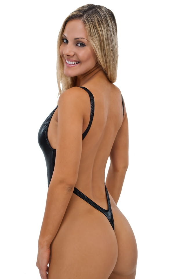 One Piece Thong Swim Suit in Mystique Black-Black 3