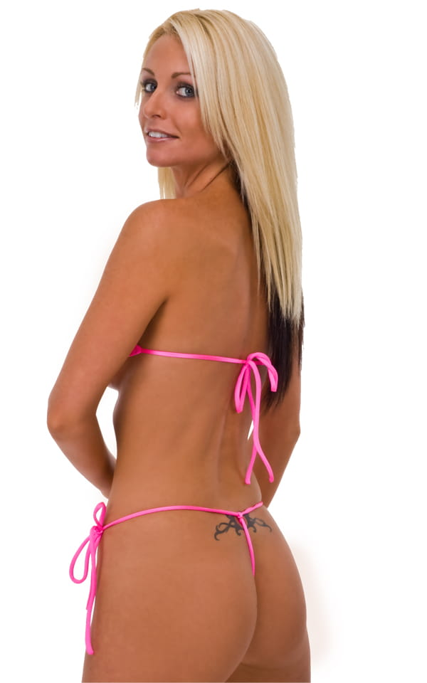 Womens Band-Aid Bandeau Sexy Swim Top in Wet Look Hot Pink 3