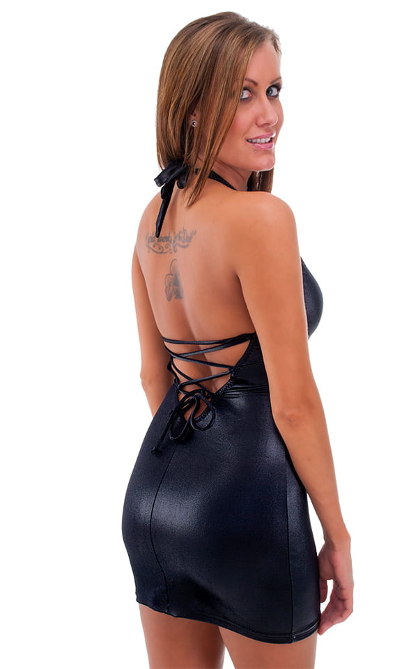 Sexy Lace Up Bodycon Club Mini Dress in Wet Look Black 3