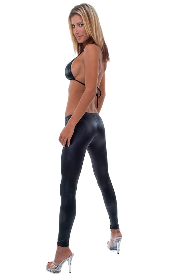 Womens Super Low Rise Leggings Fashion Tights in Wet Look Black 3