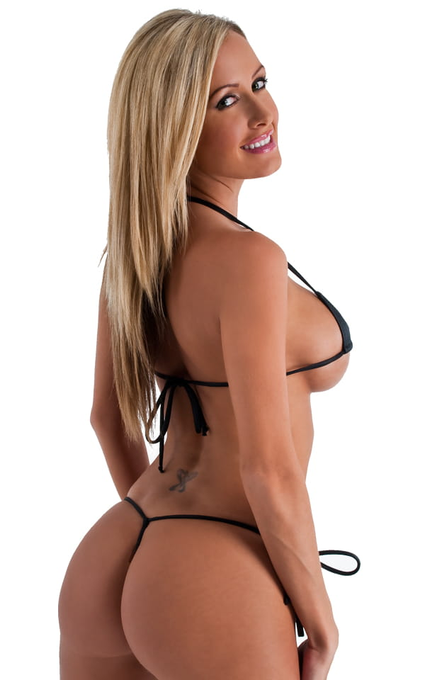 Micro G String Side Tie Bikini Bottom in Wet Look Black 3