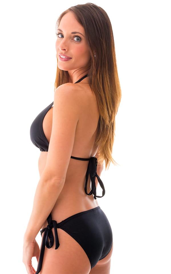 Womens Low Rise Side Tie Moderate Bikini Bottom in Black 3