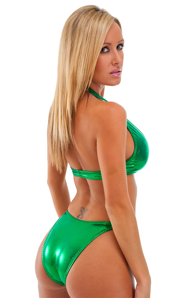 Womens High Cut Brazilian Swim Suit bottom in Metallic Mystique Kelly 3