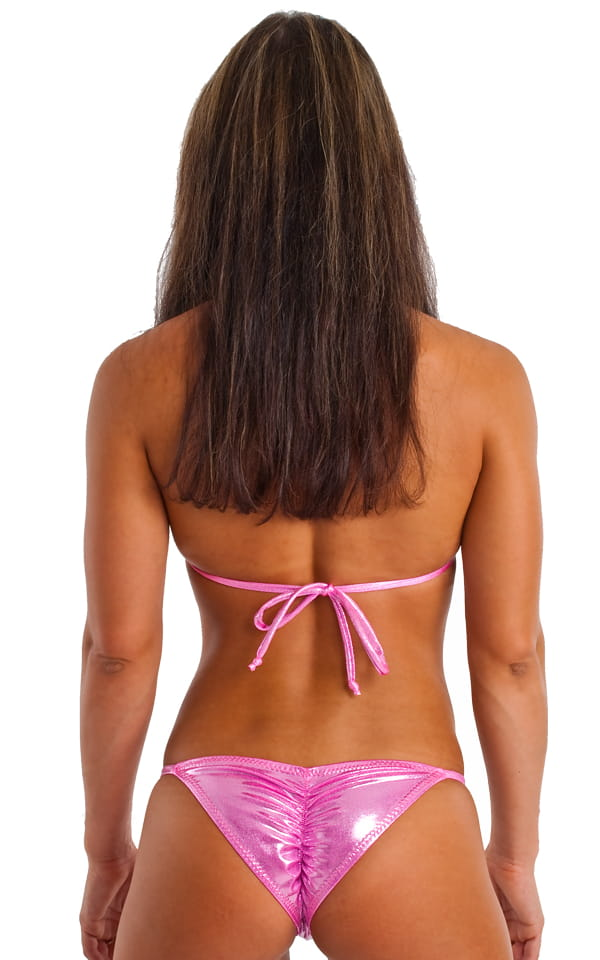 Brazilian Pucker Butt Bikini in Metallic Mystique Bubblegum-Pink 3