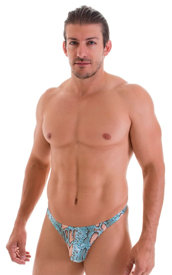 T Back Thong Swimsuit in ThinSkinz Aqua Python 1
