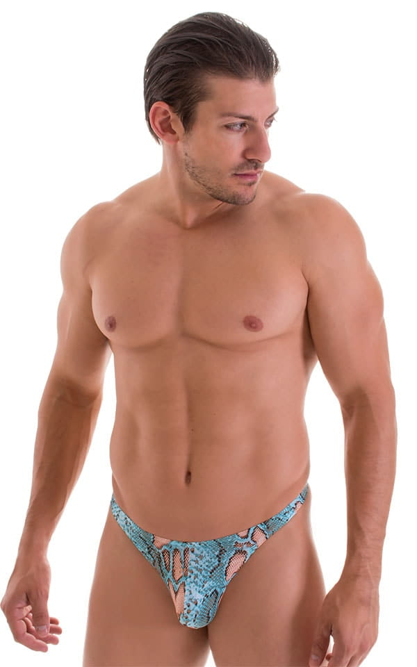 T Back Thong Swimsuit in ThinSkinz Aqua Python 4