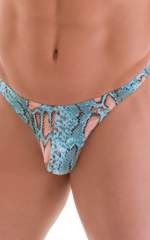 T Back Thong Swimsuit in Super ThinSkinz Aqua Python 6