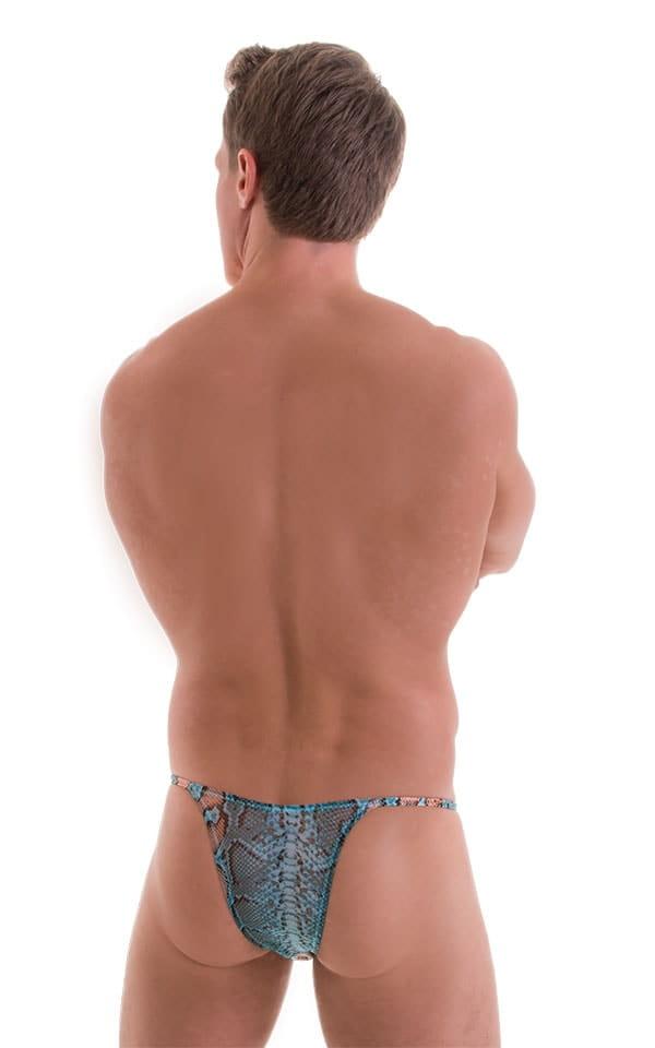 Sunseeker2 Tanning Swimsuit in Super ThinSKINZ Aqua Python - Aqua Python Mesh back 2