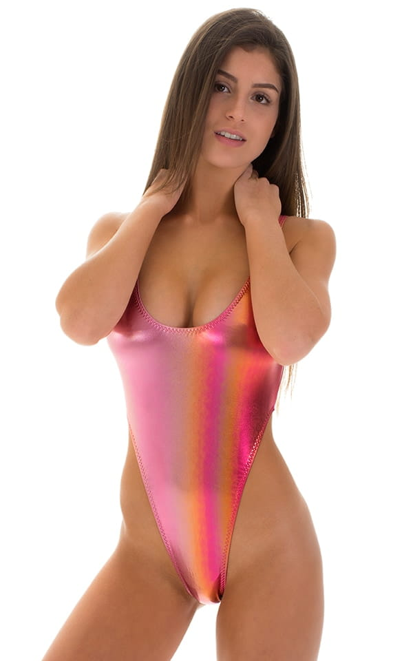 One Piece Thong Swimsuit in Sunset Ombre 4