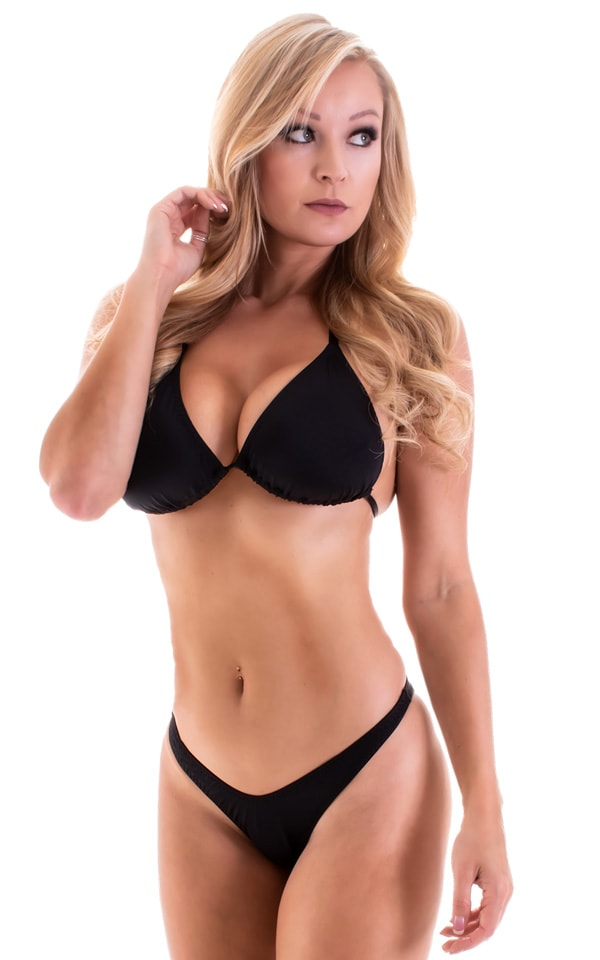 Womens Classic Triangle Swimsuit Top in Black 3