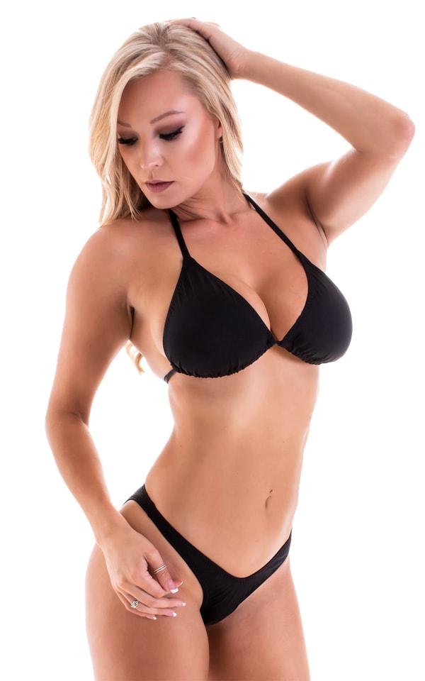 High Cut Brazilian Bikini Bottom in Black tricot-nylon-lycra 4