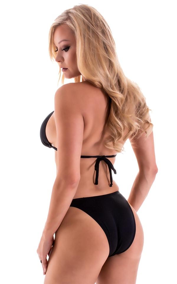 High Cut Brazilian Bikini Bottom in Black tricot-nylon-lycra 5