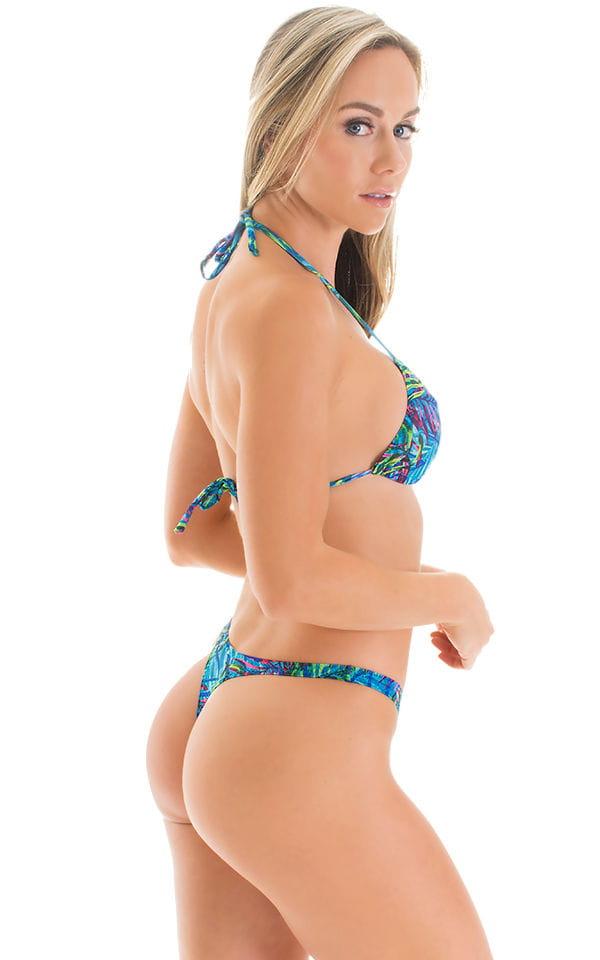 Brazilian Triangle Swim Top in Tan Through Neon Ferns 7