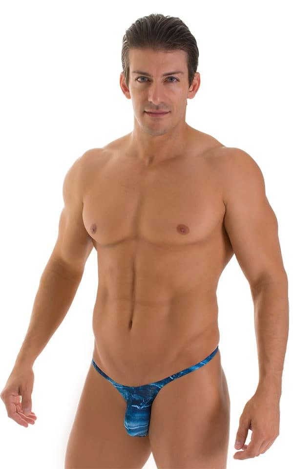 Sunseeker Micro Pouch Half Back Bikini in Super ThinSKINZ Denim Patches 1