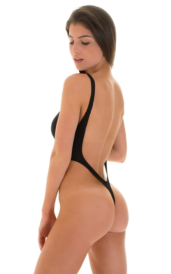 One Piece Thong Swimsuit in Super ThinSKINZ Black 3