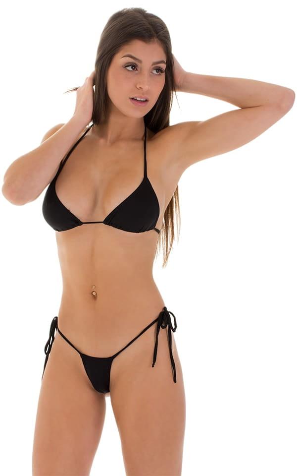 Micro G String Side Tie Bikini in Super ThinSKINZ Black 4