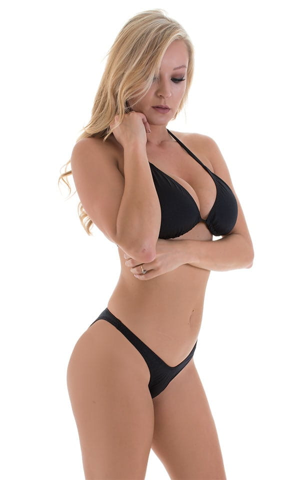 High Cut Brazilian Bikini Bottom in Black 4