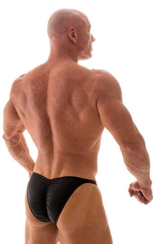 Fitted Pouch - Puckered Back - Posing Suit in Black 3