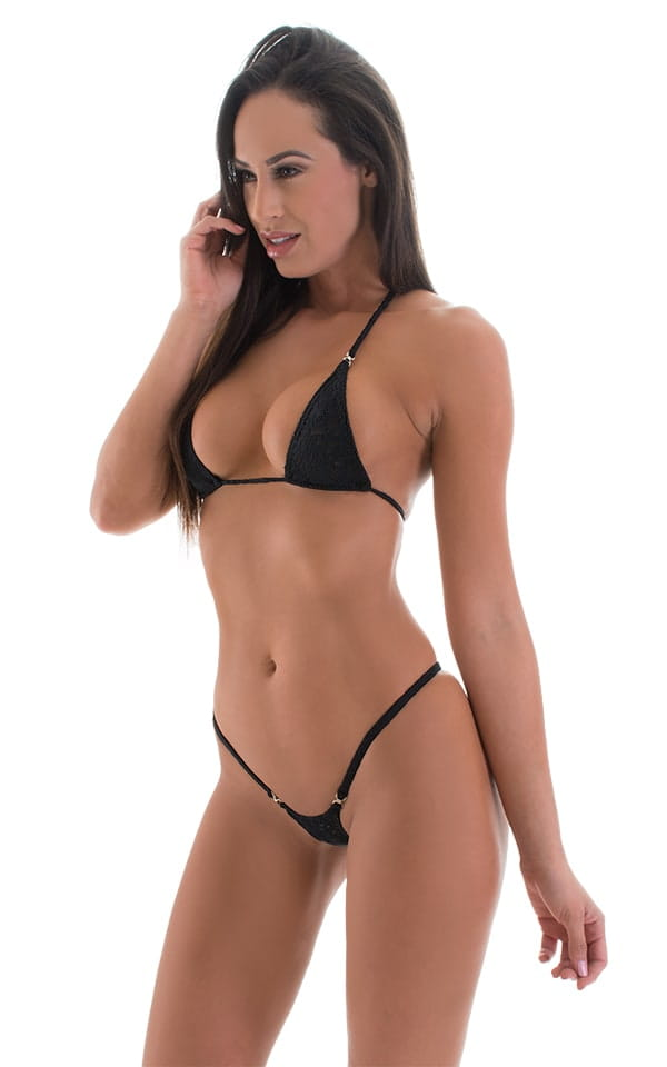 bc3b536f68 Mini Micro G String Bikini in Black Lace | Skinzwear.com