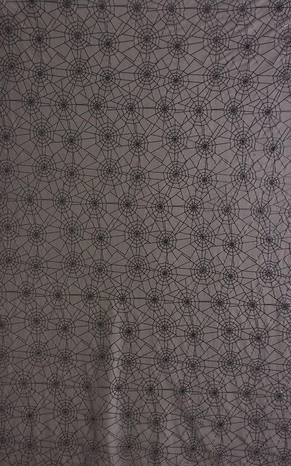 One Piece Zipper in Sheer Black Spiderweb Mesh Fabric