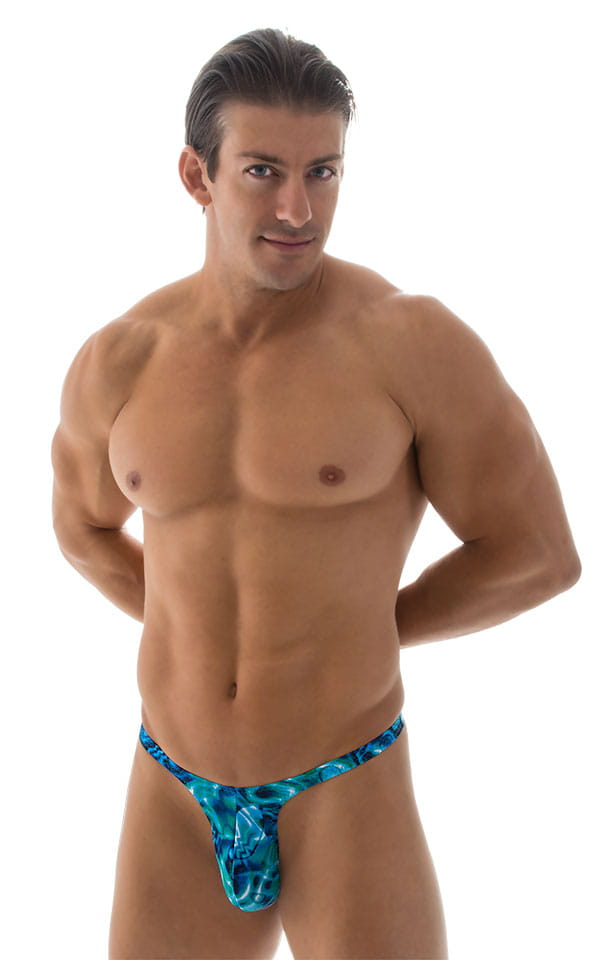 8db500ebdc T Back Thong Swimsuit - Bravura Pouch in Liquid Bahamas | Skinzwear.com