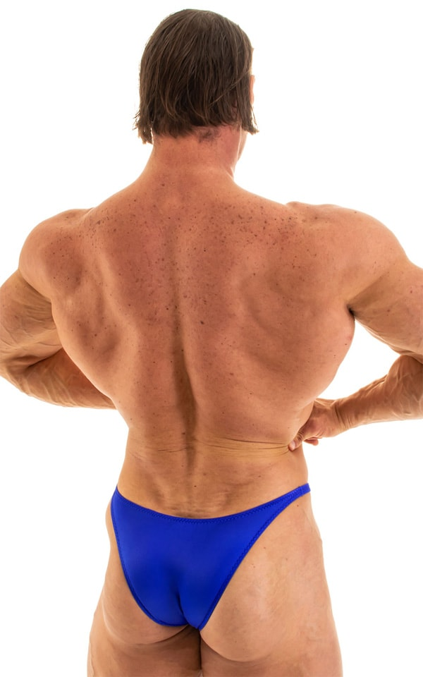 Bodybuilder Posing Suit - Narrow Back in Wet Look Royal Blue 5
