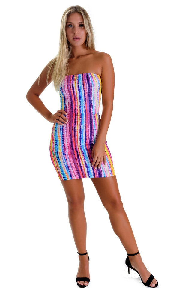 Mini Strapless Bodycon Dress in BoHo Stripe 1