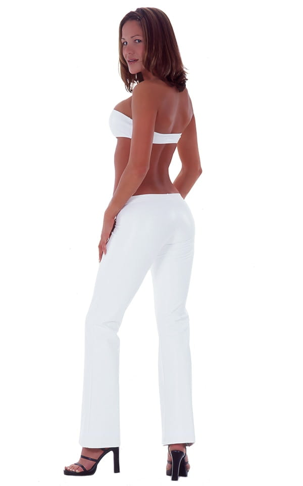 Hiphugger Boot Cut Pants in Optic White nylon-lycra 3
