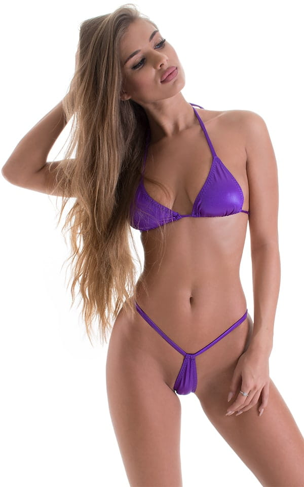 Teardrop G String Micro Bikini in Wet Look Purple 4