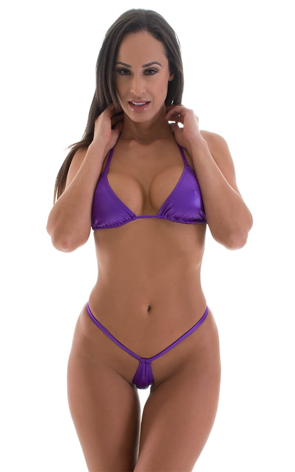 Teardrop G String Micro Bikini in Wet Look Purple 1