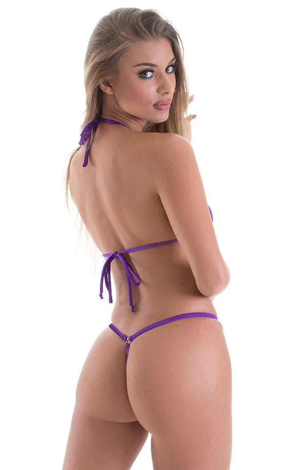 Teardrop G String Micro Bikini in Wet Look Purple 3