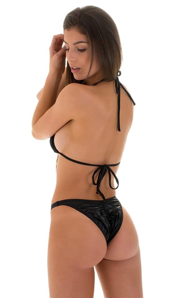 High Cut Brazilian Scrunchie Bottom in Wet Look Black 3