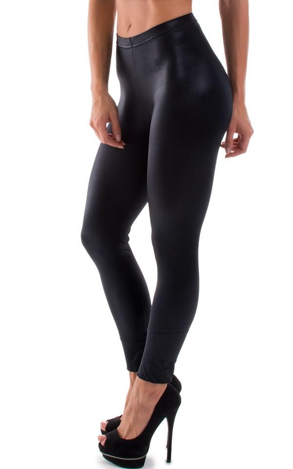 Womens Leggings - Fashion Tights in Wet Look Black 4