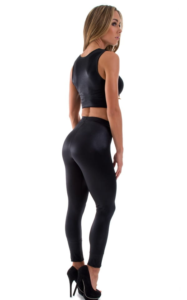 Womens Leggings - Fashion Tights in Wet Look Black 3